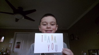 Kellen O. sharing his thank you card!