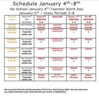 Students Return Virtually Tue, January 5th