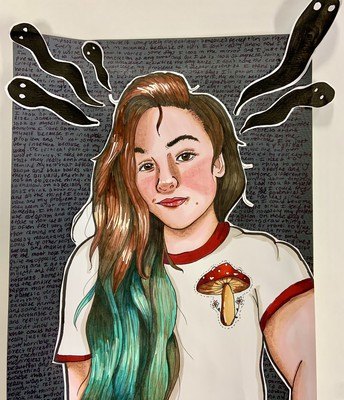Hannah's mixed media ink collage self portrait