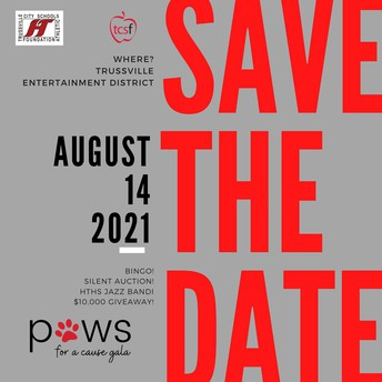 Paws for Cause graphic - gray background with red letters