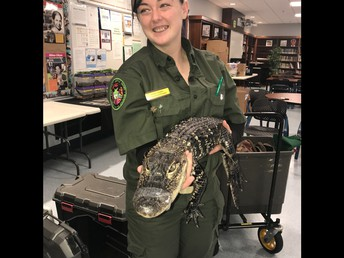 Ms. Warshafsky did not want to hold the alligator!