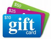Gift Card Program - The last day to order gift cards for December is the 9th by noon!!! After that, only cards we have in inventory will be available on a first come basis. Pick up deadline is December 17.