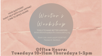 Writer's Workshop Office Hours Cancelled This Week!