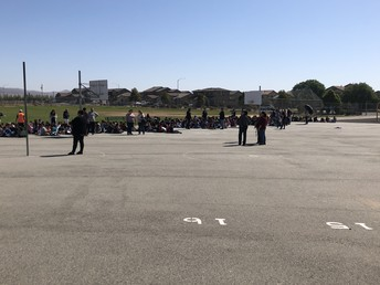 Jack Franscioni Students following the earthquake