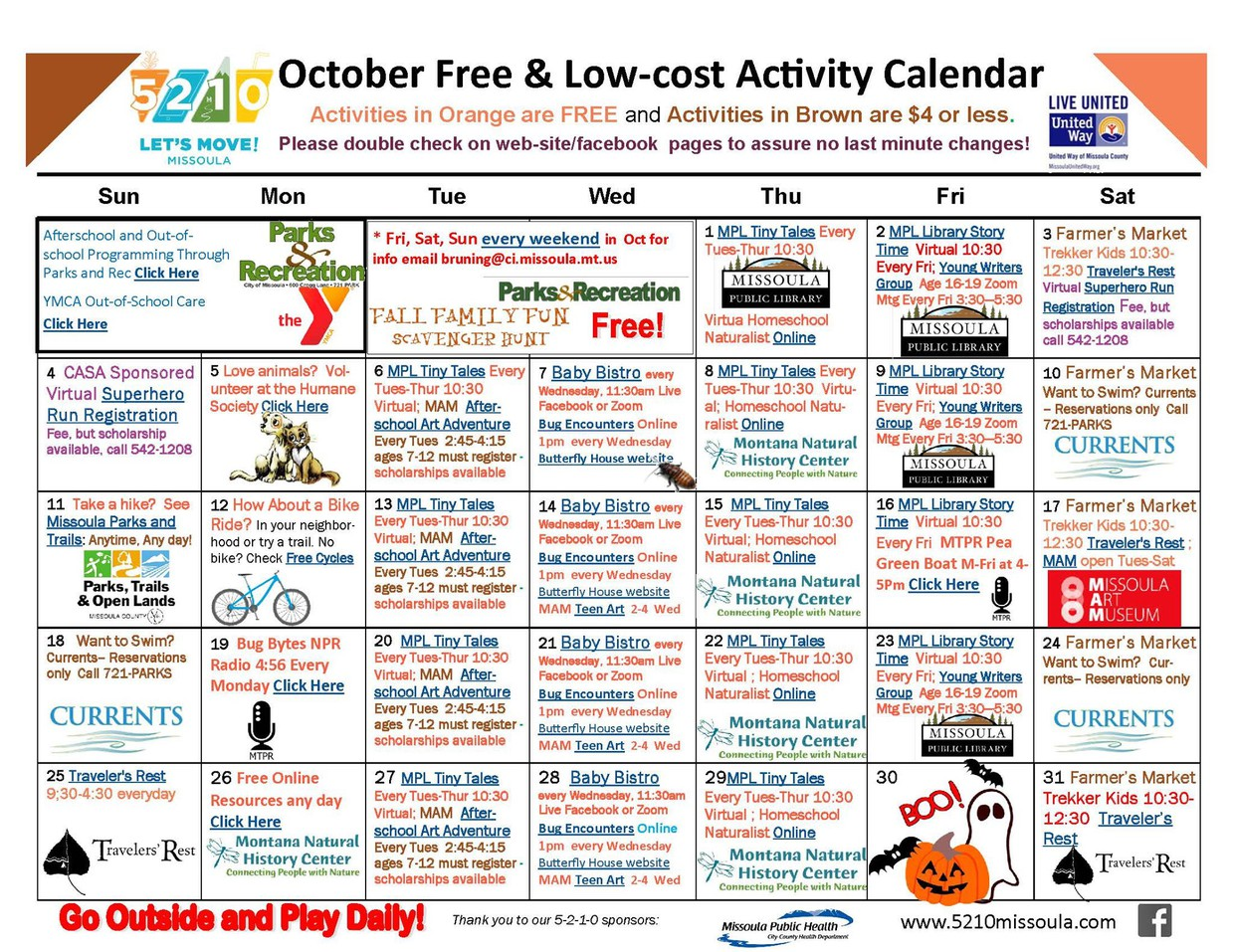 5210 Free and Low-Cost Activities - October