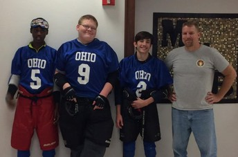 Boys Goalball Team shown from left to right: Marwan, Jason, Garrett and Coach Grim