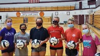 Members of the JHS Volleyball Team in masks