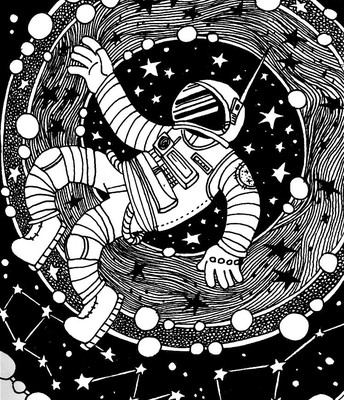 Black & White drawing of an astronaut with stars