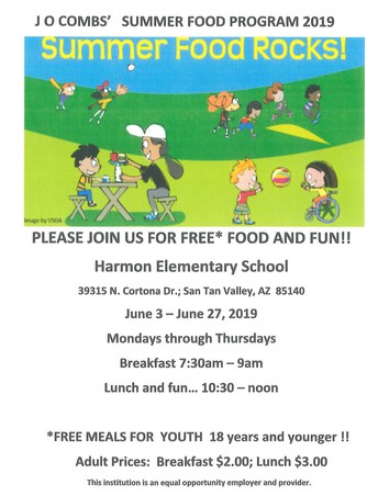 J.O. COMBS SUMMER FOOD PROGRAM 2019