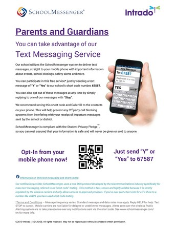 Families Can Receive District Communications Via Text Message