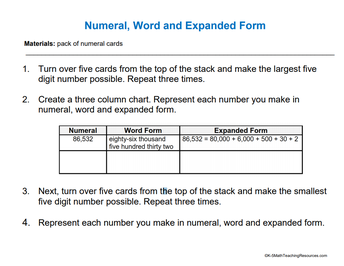 Numeral, Word, and Expanded Form