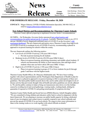 TCPHSS News Release: Friday, December 18, 2020