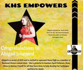 Kuna High student chosen for National Choir Ensemble