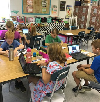 Mrs. Warren's students using technology to enhance their learning.