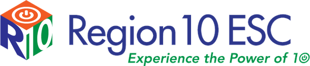 Region 10 cube logo beside text: Region 10 ESC Experience the Power of Ten