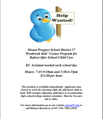 HELP WANTED - KIDS CORNER