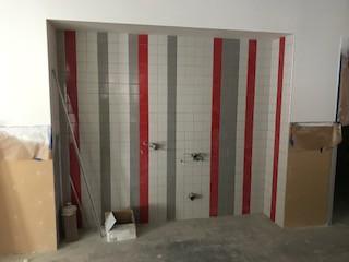 Tile in the restroom.