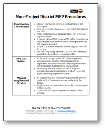 Non-Project Districts Resources