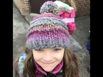 Hand-knitted hats are super cosy... : )