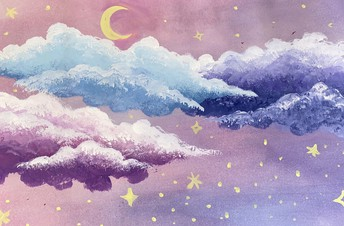 Pastel drawing of clouds with crescent moon & Stars.  Purple and pink colors
