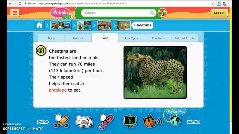 We used Pebble Go to gather information on the African animal of our choice!