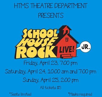 """official promotional graphic for HTMS theatre production - red house with """"School House Rock Live"""" words bumped up against it."""