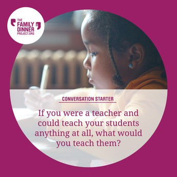 Example conversation starter: If you were a teacher and could teach your students anything at all, what would you teach them?
