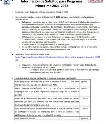 2021-2022 PrimeTime Application Info / Spanish