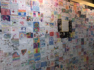 """Our completed """"quilt"""" on display in the Marshall hall"""
