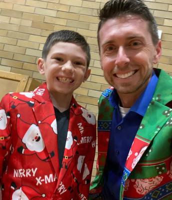 Student Ben Bunker and Mr. Mat Prezioso, Munson Elementary Principal