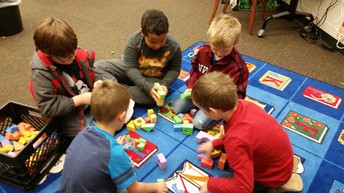 1st Graders Synergizing in Makerspace