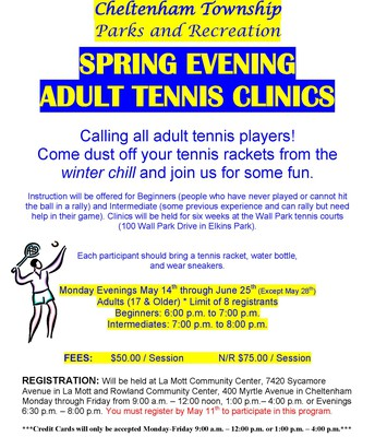 Adult Evening Tennis Clinics