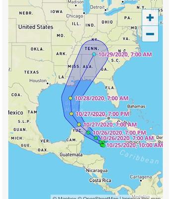 Zeta forecast, as of 3:00 pm, 10-25-2020