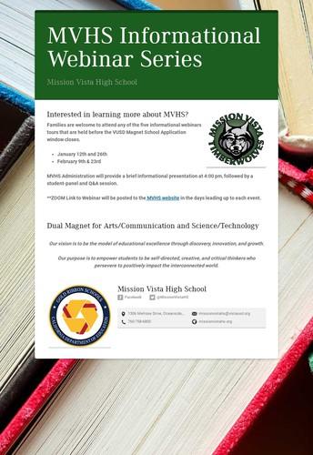 MVHS Informational Webinar Series for Prospective Students