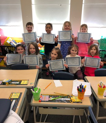 1st grade Perfect Attendance Awards for February 2018