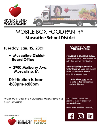 River Bend Mobile Food Bank; January 12th
