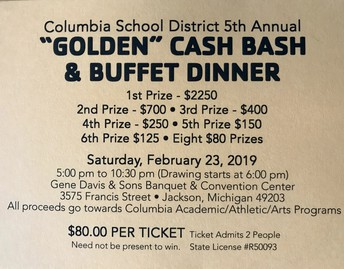 Cash Bash Tickets are on sale now! Call the high school office if you would like to purchase tickets!