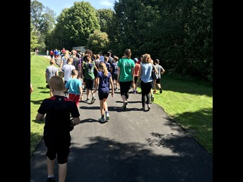 Runners head back for lunch after our first running session on Friday