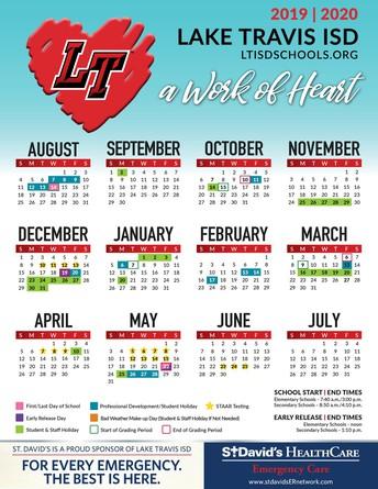 LTISD 2019-2020 Instructional Calendar