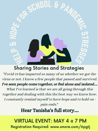 """Mental Health Night for Teens and their Parents: """"Help & Hope for School and Pandemic Stresses: Sharing Stories and Strategies"""""""