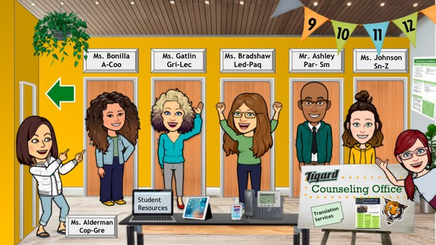 Picture of counselors: Ms. Alderman Cop-Gre, Ms. Bonilla A-Coo, Ms. Gatlin Gri-Lec, Ms. Branshaw Led-Paq, Mr. Ashley Par-SM and Ms Johnson SN-Z. Words Tigard Counseling Office, Translation services & Student Resources