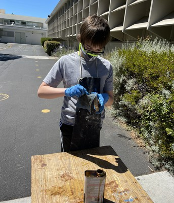Staining his project