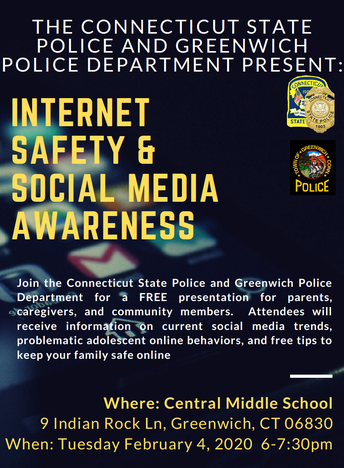 Flyer for the Internet Safety & Social Media Awareness event on February 4, 2020