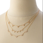Pave Chevron Necklace-Gold