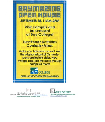 """Bay College """"Baymazing"""" Open House Sept 28 11:00 a.m. -2:00 p.m."""