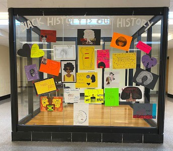 Black history month display case at Dean Campus