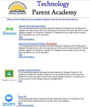 Technology Parent Academy links now online