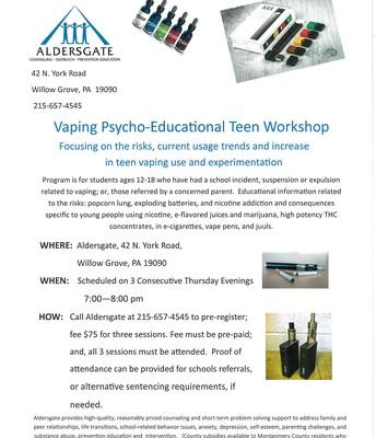 Vaping Psycho-Educational Teen Workshop