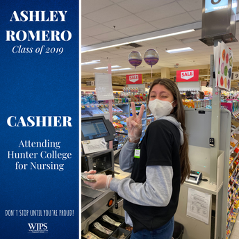 female grocery cashier in medical mask
