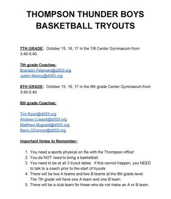 Boys Basketball Tryout Flyer